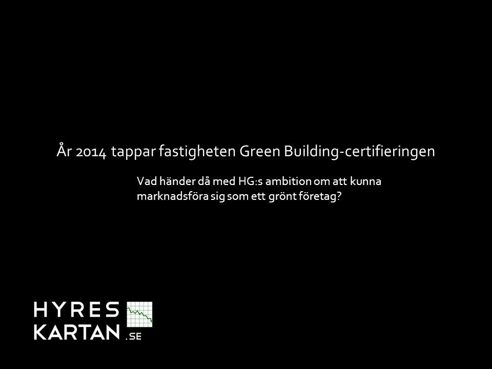 Swedish Green Building Councils (SGBC) lista över Green Building-certifierade fastigheter Avser 2012/2013: 335 fastigheter Avser 2013/2014: 190 fastigheter Bortfall/ej återregistrerade: 169 fastigheter