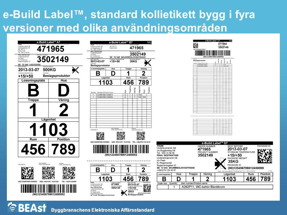 Byggbranschens Elektroniska Affärsstandard e-Build Label™, standard kollietikett bygg i fyra versioner med olika användningsområden
