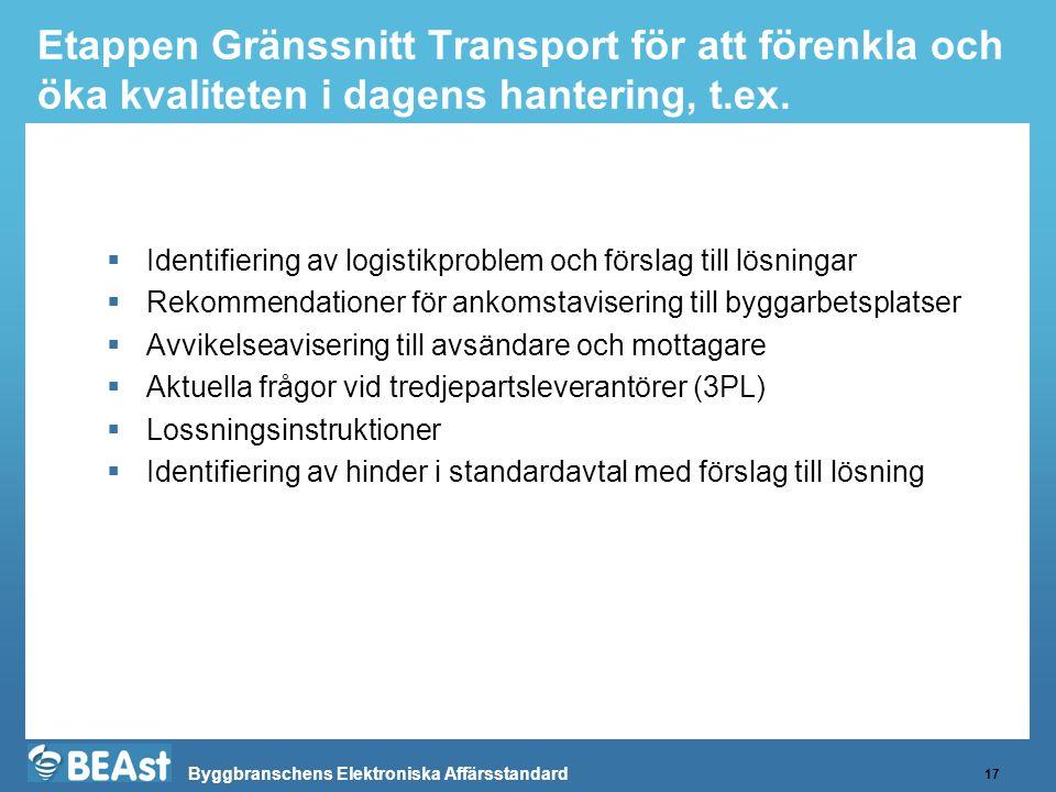 Byggbranschens Elektroniska Affärsstandard Etappen Gränssnitt Transport för att förenkla och öka kvaliteten i dagens hantering, t.ex. 17  Identifieri