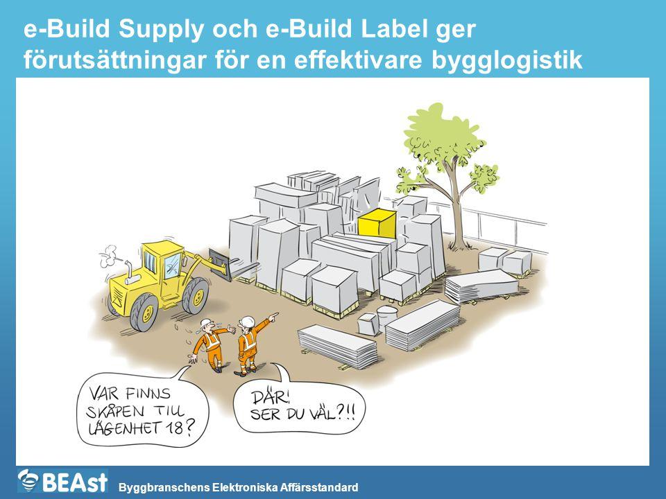 Byggbranschens Elektroniska Affärsstandard e-Build Supply och e-Build Label ger förutsättningar för en effektivare bygglogistik