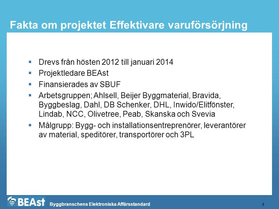 Byggbranschens Elektroniska Affärsstandard Fakta om projektet Effektivare varuförsörjning 2  Drevs från hösten 2012 till januari 2014  Projektledare