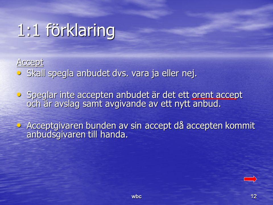 1:1 förklaring Accept Skall spegla anbudet dvs. vara ja eller nej. Skall spegla anbudet dvs. vara ja eller nej. Speglar inte accepten anbudet är det e