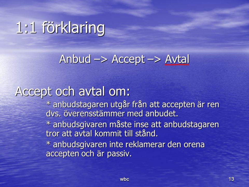 1:1 förklaring Anbud –> Accept –> Avtal Accept och avtal om: * anbudstagaren utgår från att accepten är ren dvs. överensstämmer med anbudet. * anbudsg