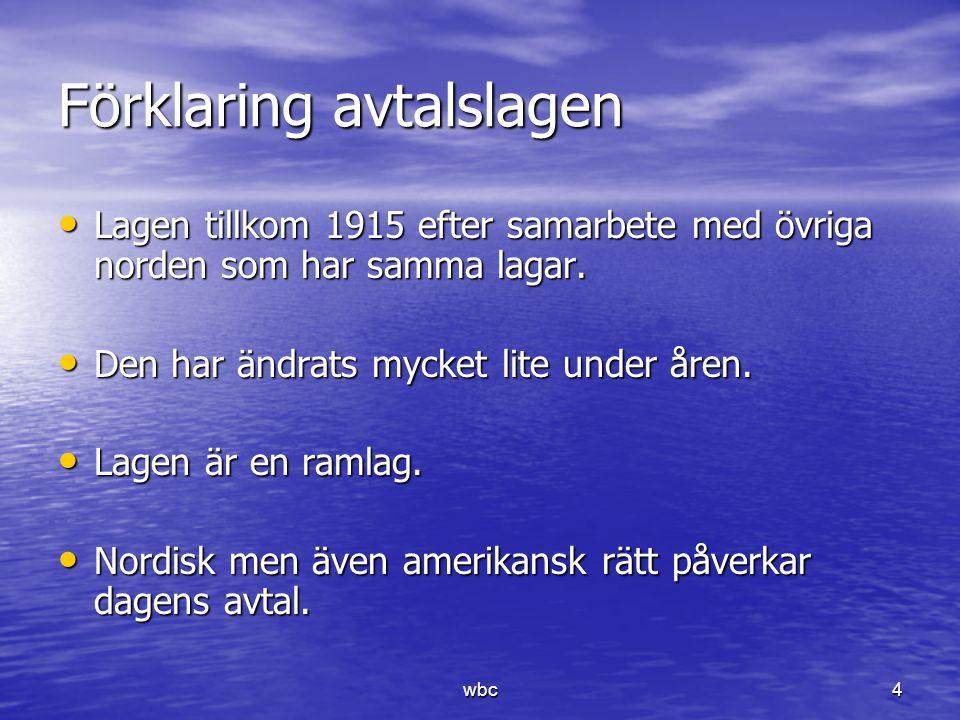 Förklaring avtalslagen Lagen tillkom 1915 efter samarbete med övriga norden som har samma lagar. Lagen tillkom 1915 efter samarbete med övriga norden