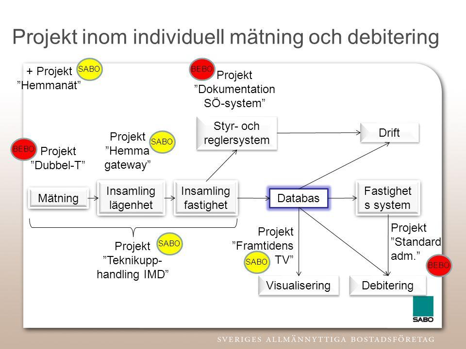 Projekt inom individuell mätning och debitering Mätning Insamling lägenhet Insamling fastighet Databas Visualisering Fastighet s system Drift Styr- oc