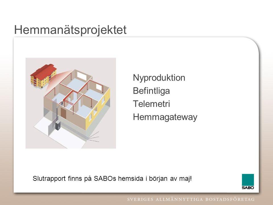 Hemmanätsprojektet Nyproduktion Befintliga Telemetri Hemmagateway Slutrapport finns på SABOs hemsida i början av maj!