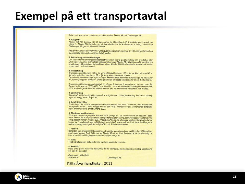 15 Källa:Åkerihandboken 2011 Exempel på ett transportavtal