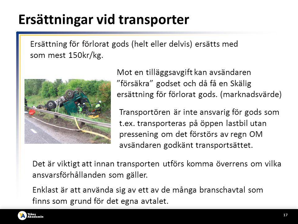 17 Transportören är inte ansvarig för gods som t.ex.