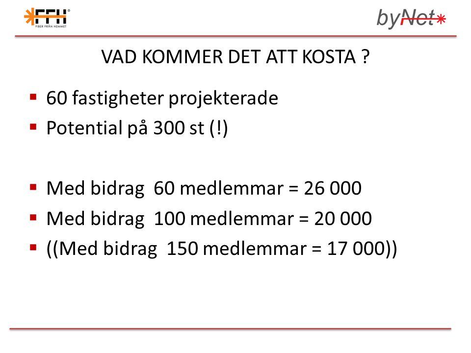 VAD KOMMER DET ATT KOSTA ?  60 fastigheter projekterade  Potential på 300 st (!)  Med bidrag 60 medlemmar = 26 000  Med bidrag 100 medlemmar = 20