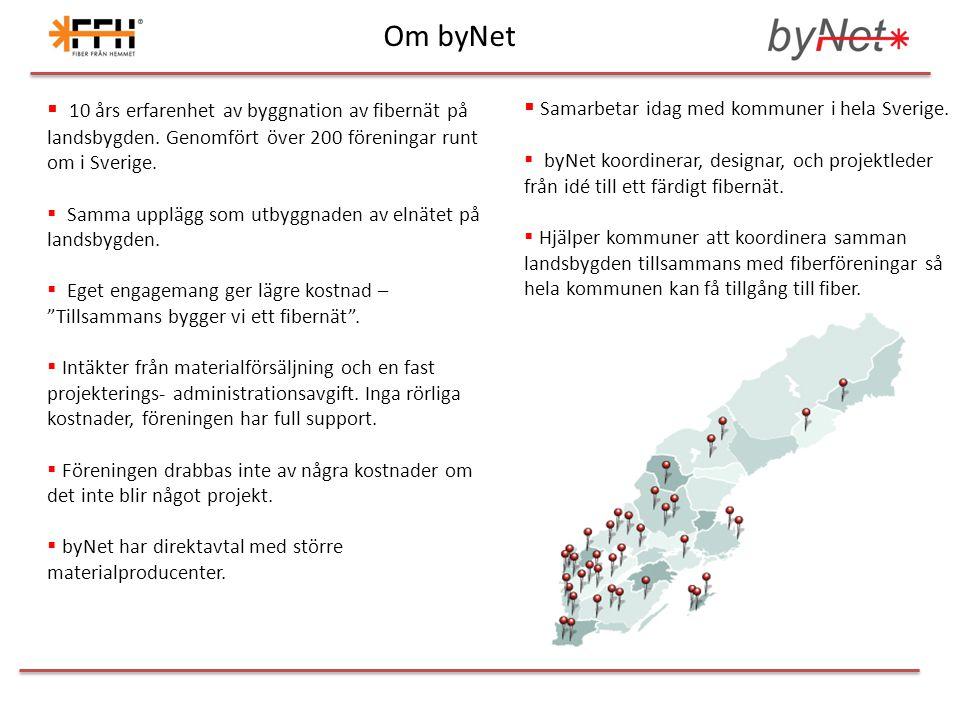  10 års erfarenhet av byggnation av fibernät på landsbygden. Genomfört över 200 föreningar runt om i Sverige.  Samma upplägg som utbyggnaden av elnä