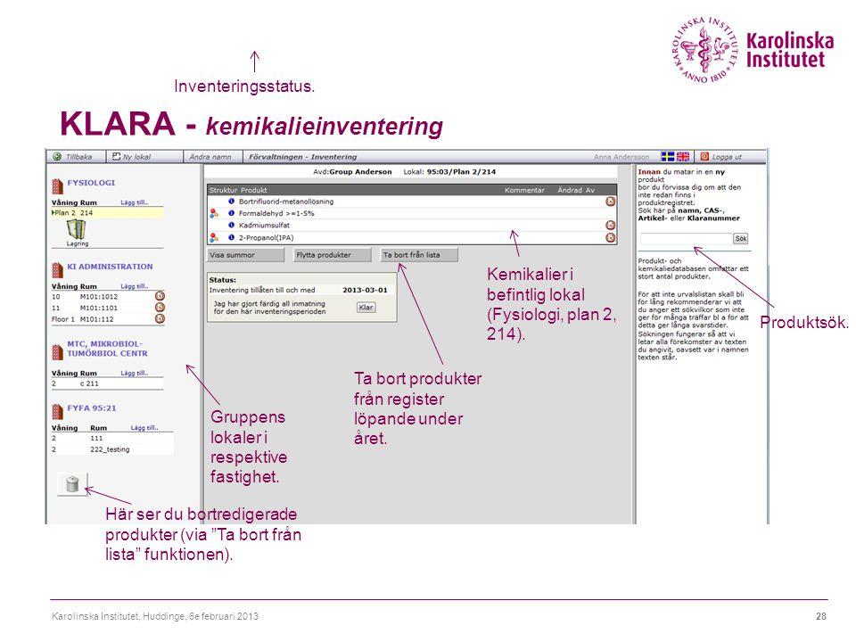 KLARA - kemikalieinventering Karolinska Institutet, Huddinge, 6e februari 201328 Inventeringsstatus.