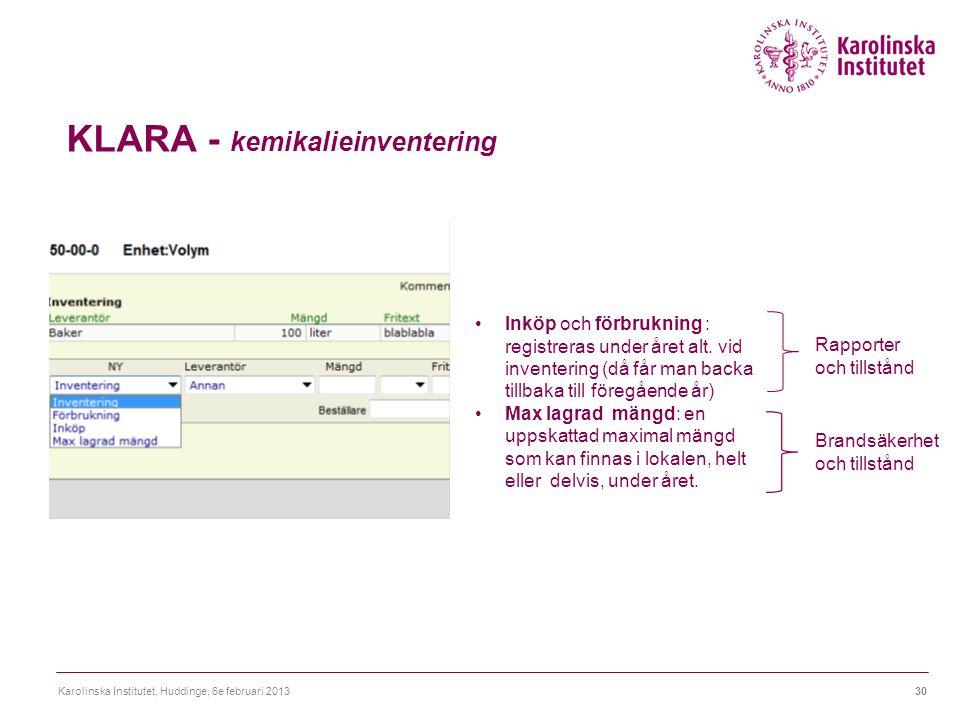 KLARA - kemikalieinventering Karolinska Institutet, Huddinge, 6e februari 201330 Inköp och förbrukning : registreras under året alt. vid inventering (