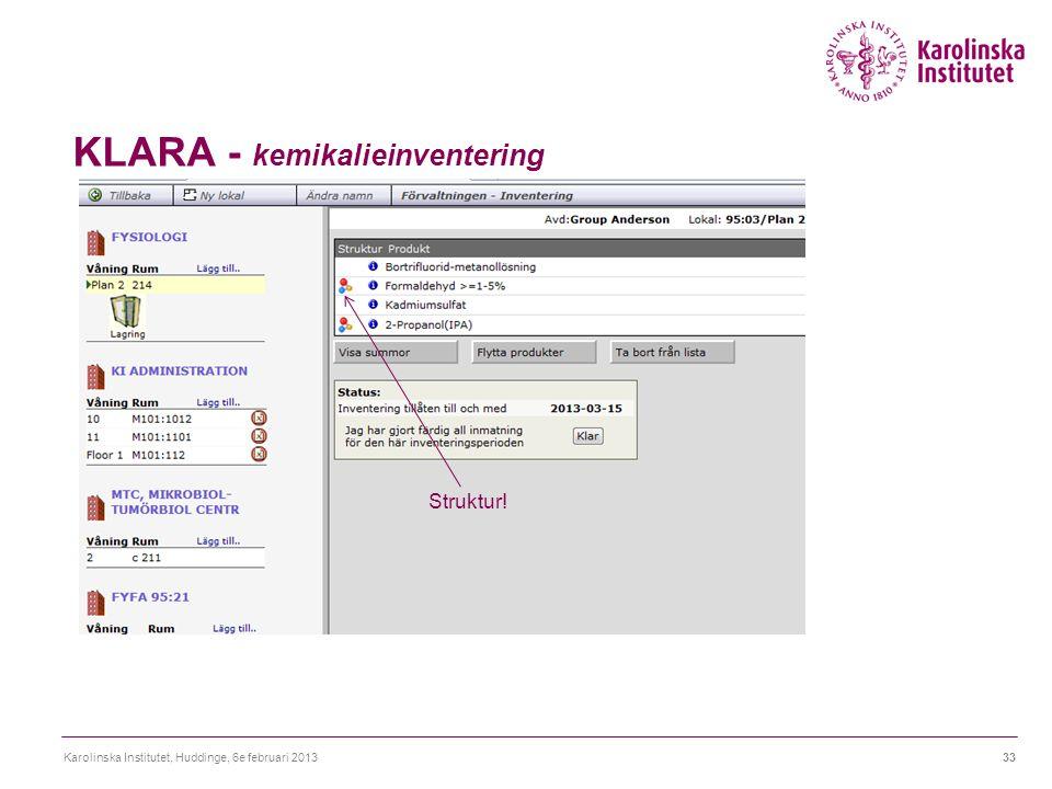 KLARA - kemikalieinventering Karolinska Institutet, Huddinge, 6e februari 201333 Struktur!