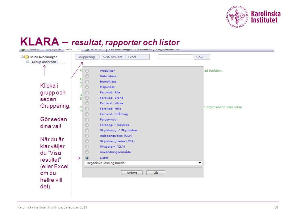 KLARA – resultat, rapporter och listor Karolinska Institutet, Huddinge, 6e februari 201380 Klicka i grupp och sedan Gruppering. Gör sedan dina val! Nä