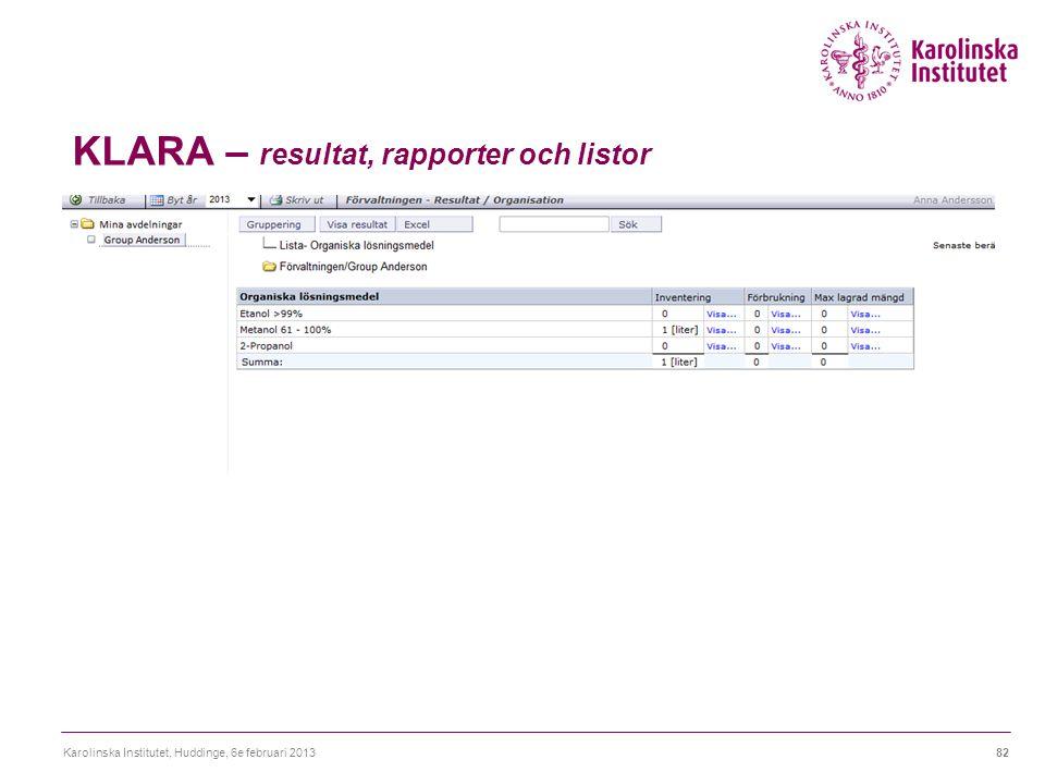 KLARA – resultat, rapporter och listor Karolinska Institutet, Huddinge, 6e februari 201382
