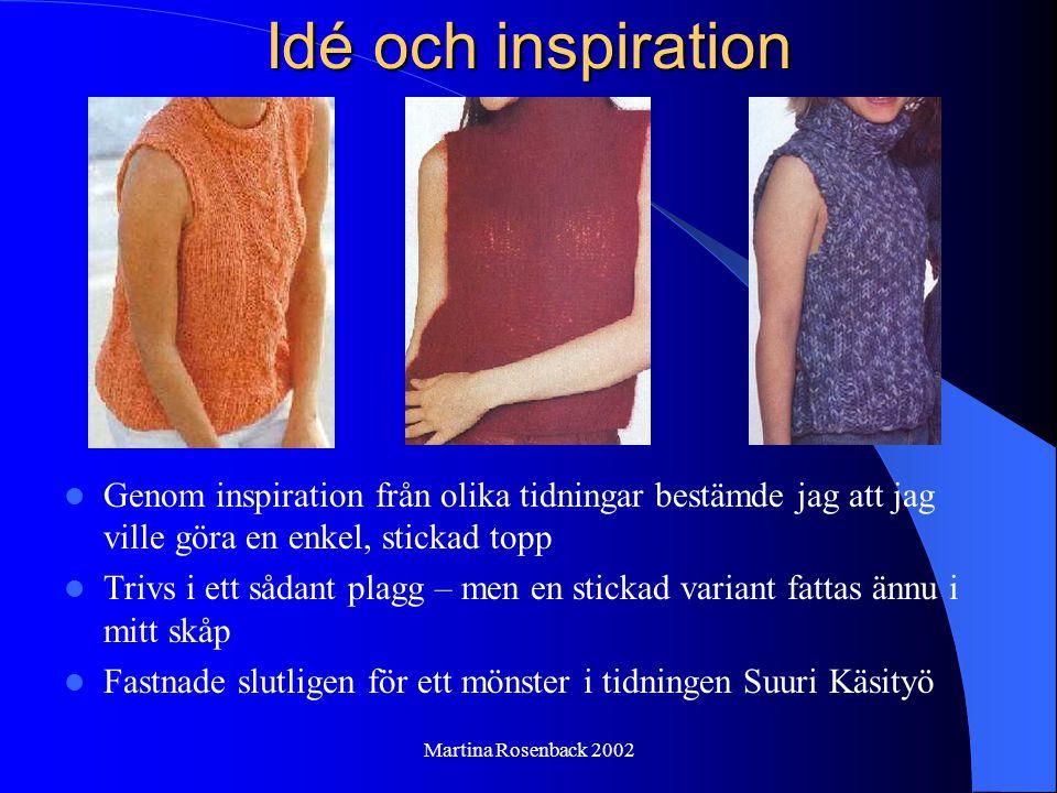 Martina Rosenback 2002 Redskap och material Stickor nr 10 Jumbo soft Novita garn (50% ull + 50% akryl) Maskintvättbar 30 o C