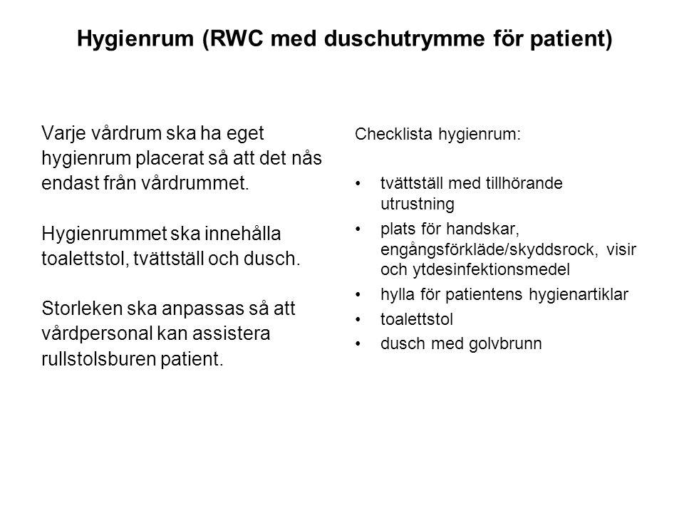 Hygienrum (RWC med duschutrymme för patient) Varje vårdrum ska ha eget hygienrum placerat så att det nås endast från vårdrummet.