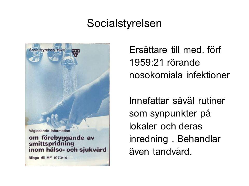 Socialstyrelsen 1980:5 Ur förordet; I dessa anvisningar har jämfört med den vägledande informationen utgått alla avsnitt som behandlar lokaler och deras fasta inredning, eftersom dessa frågor tas upp i Spri-projekt.