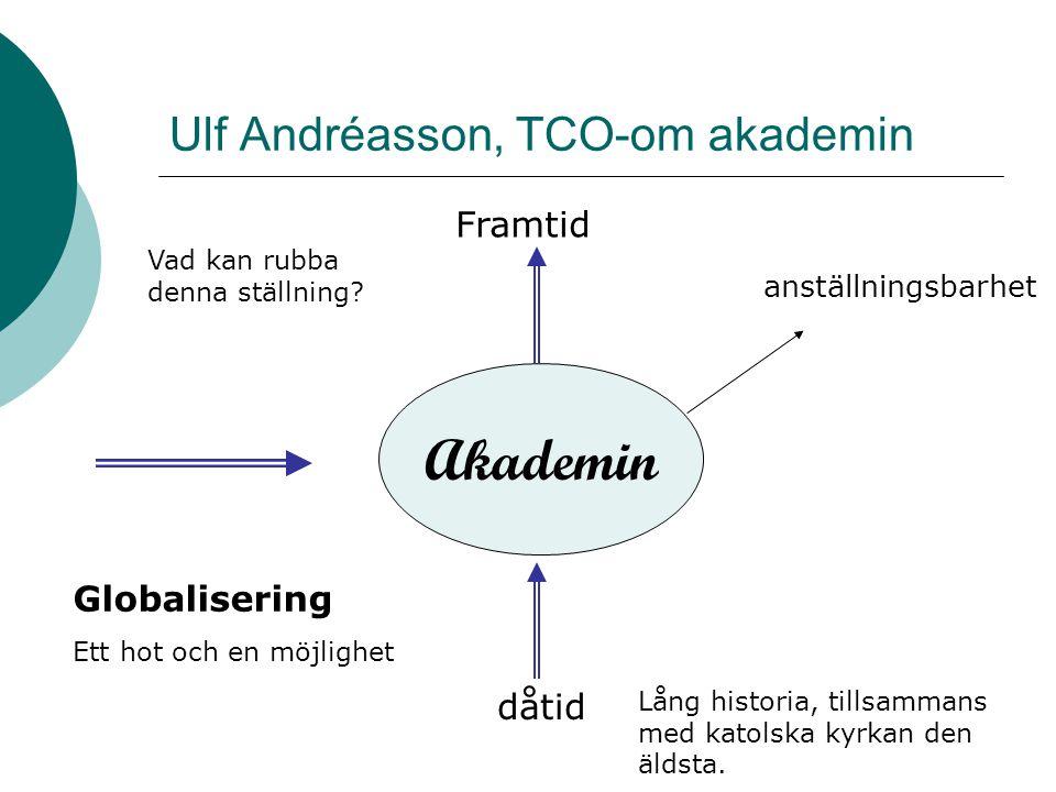 Ulf Andréasson, TCO-om akademin Akademin Framtid dåtid Lång historia, tillsammans med katolska kyrkan den äldsta. Vad kan rubba denna ställning? Globa
