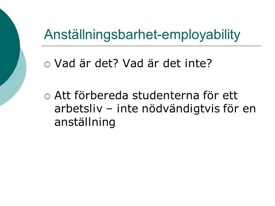 Anställningsbarhet-employability  Vad är det? Vad är det inte?  Att förbereda studenterna för ett arbetsliv – inte nödvändigtvis för en anställning
