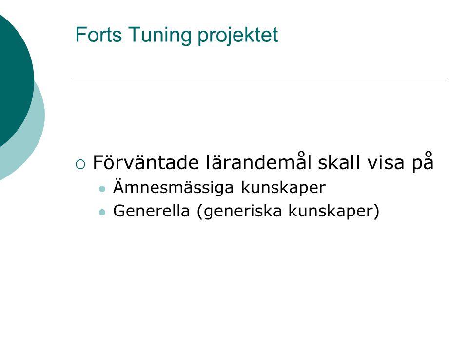 Forts Tuning projektet  Förväntade lärandemål skall visa på Ämnesmässiga kunskaper Generella (generiska kunskaper)