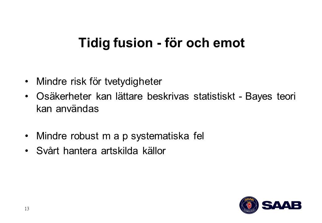 13 Tidig fusion - för och emot Mindre risk för tvetydigheter Osäkerheter kan lättare beskrivas statistiskt - Bayes teori kan användas Mindre robust m