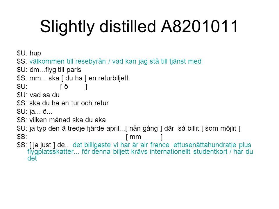 Slightly distilled A8201011 $U: hup $S: välkommen till resebyrån / vad kan jag stå till tjänst med $U: öm...flyg till paris $S: mm...