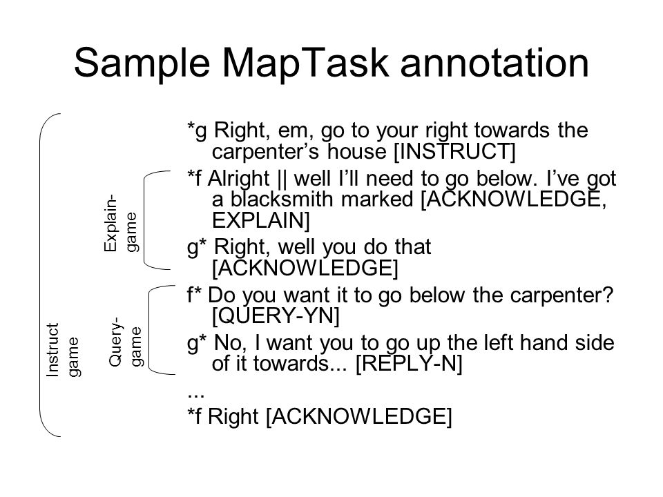 Sample MapTask annotation *g Right, em, go to your right towards the carpenter's house [INSTRUCT] *f Alright || well I'll need to go below.