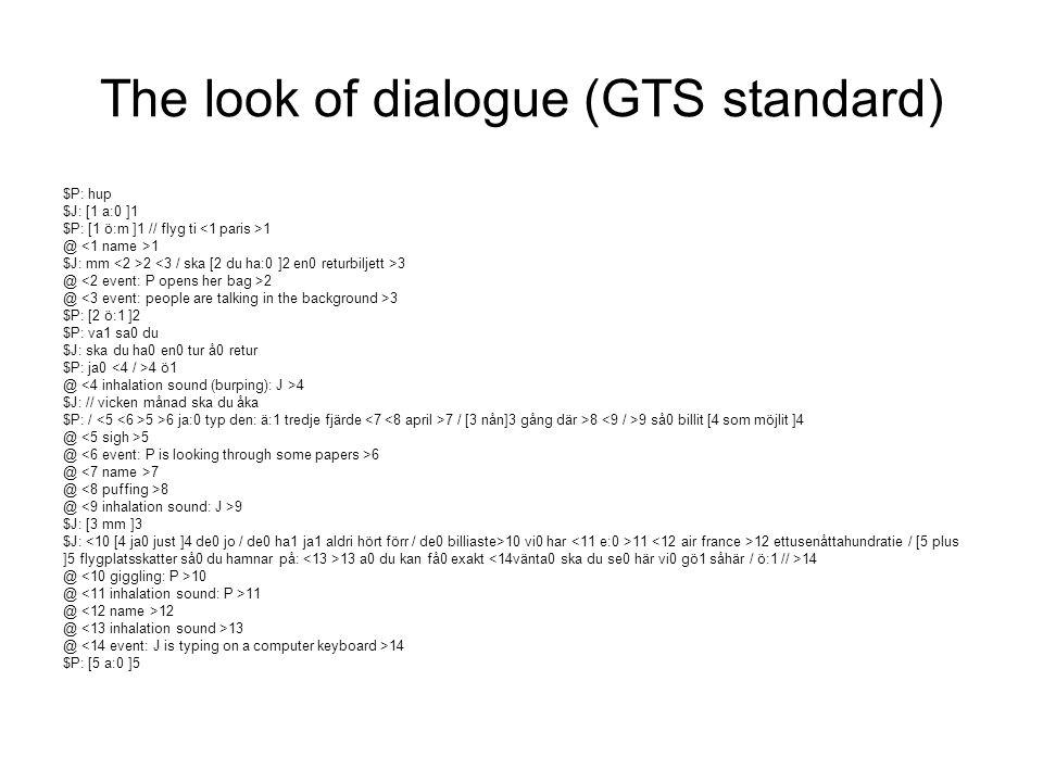 The look of dialogue (CLAN standard) P: hu:p (0.3) ?: ((br)a[:( P: [ö:m (1.4) P: flyg ti pari:s J: mm: (0.7) ((P opens her bag)) P: °(ö[:)° J: [ö:: >en returbiljett< (0.8) P: va sa du.