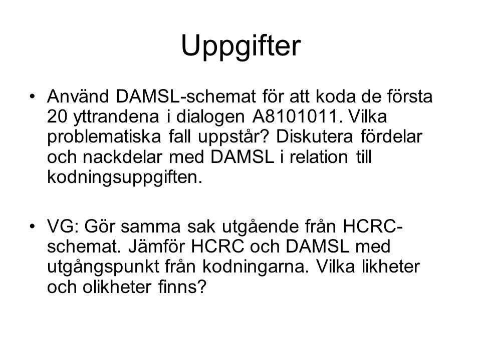 Uppgifter Använd DAMSL-schemat för att koda de första 20 yttrandena i dialogen A8101011. Vilka problematiska fall uppstår? Diskutera fördelar och nack