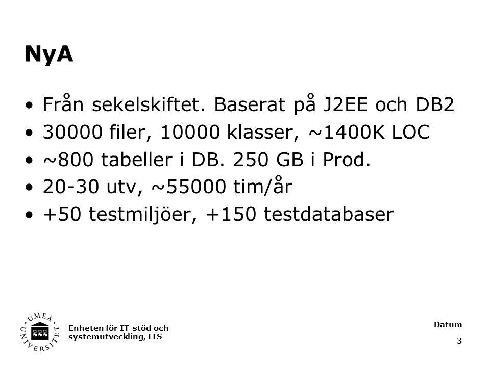 Datum Enheten för IT-stöd och systemutveckling, ITS 3 NyA Från sekelskiftet. Baserat på J2EE och DB2 30000 filer, 10000 klasser, ~1400K LOC ~800 tabel