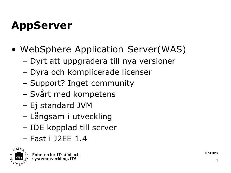 Datum Enheten för IT-stöd och systemutveckling, ITS 4 AppServer WebSphere Application Server(WAS) –Dyrt att uppgradera till nya versioner –Dyra och komplicerade licenser –Support.