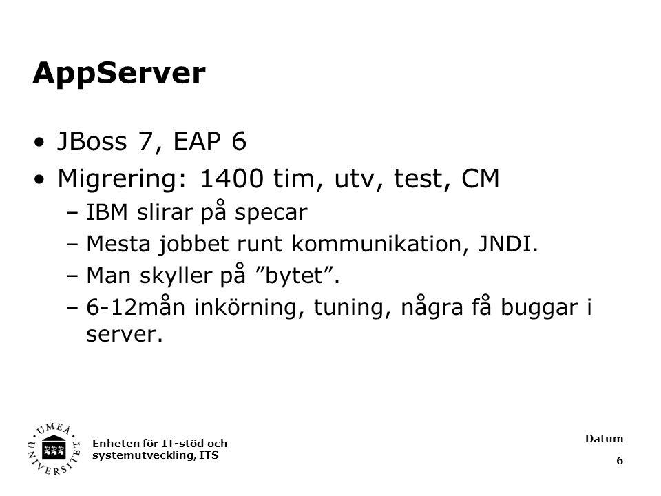 Datum Enheten för IT-stöd och systemutveckling, ITS 6 AppServer JBoss 7, EAP 6 Migrering: 1400 tim, utv, test, CM –IBM slirar på specar –Mesta jobbet runt kommunikation, JNDI.