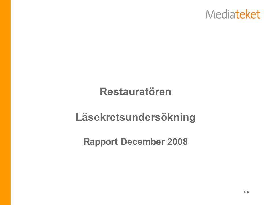 Restauratören Läsekretsundersökning Rapport December 2008