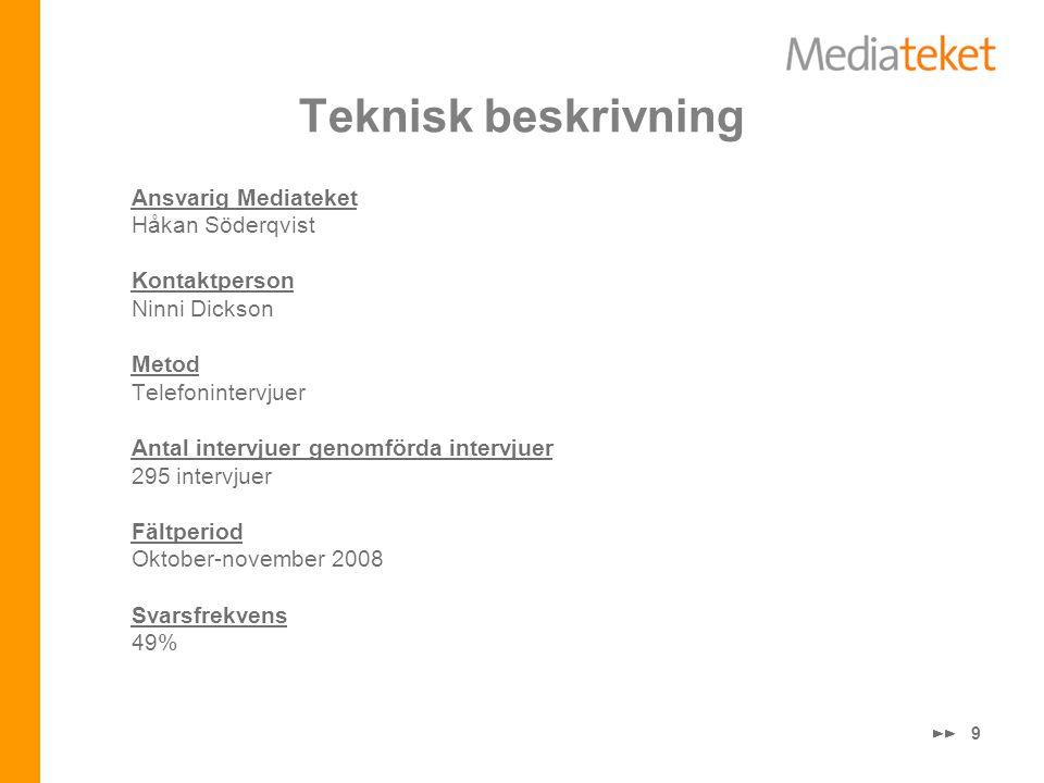 9 Teknisk beskrivning Ansvarig Mediateket Håkan Söderqvist Kontaktperson Ninni Dickson Metod Telefonintervjuer Antal intervjuer genomförda intervjuer