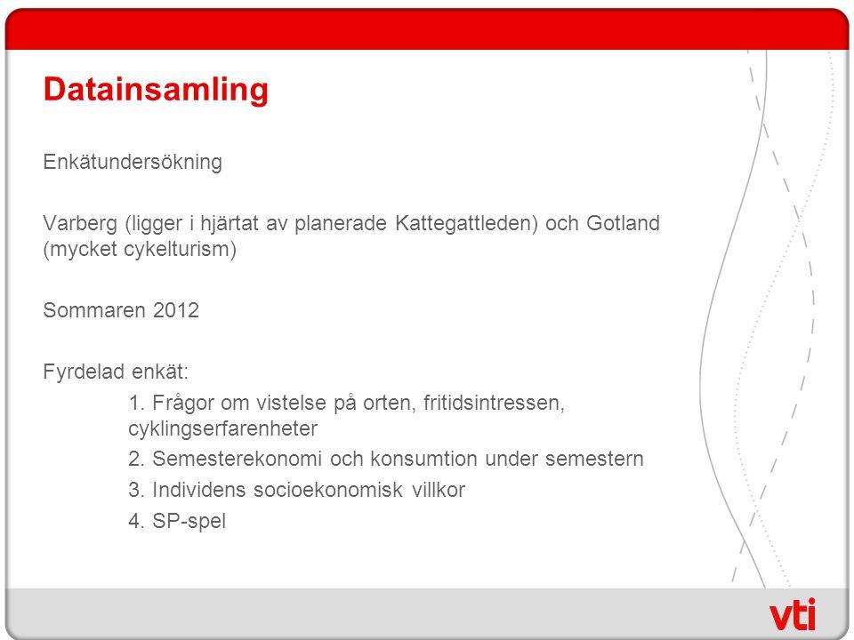 Datainsamling Enkätundersökning Varberg (ligger i hjärtat av planerade Kattegattleden) och Gotland (mycket cykelturism) Sommaren 2012 Fyrdelad enkät: 1.