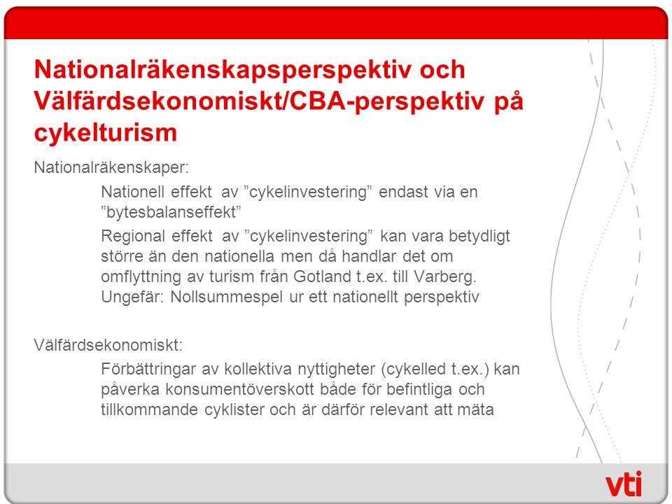 Nationalräkenskapsperspektiv och Välfärdsekonomiskt/CBA-perspektiv på cykelturism Nationalräkenskaper: Nationell effekt av cykelinvestering endast via en bytesbalanseffekt Regional effekt av cykelinvestering kan vara betydligt större än den nationella men då handlar det om omflyttning av turism från Gotland t.ex.
