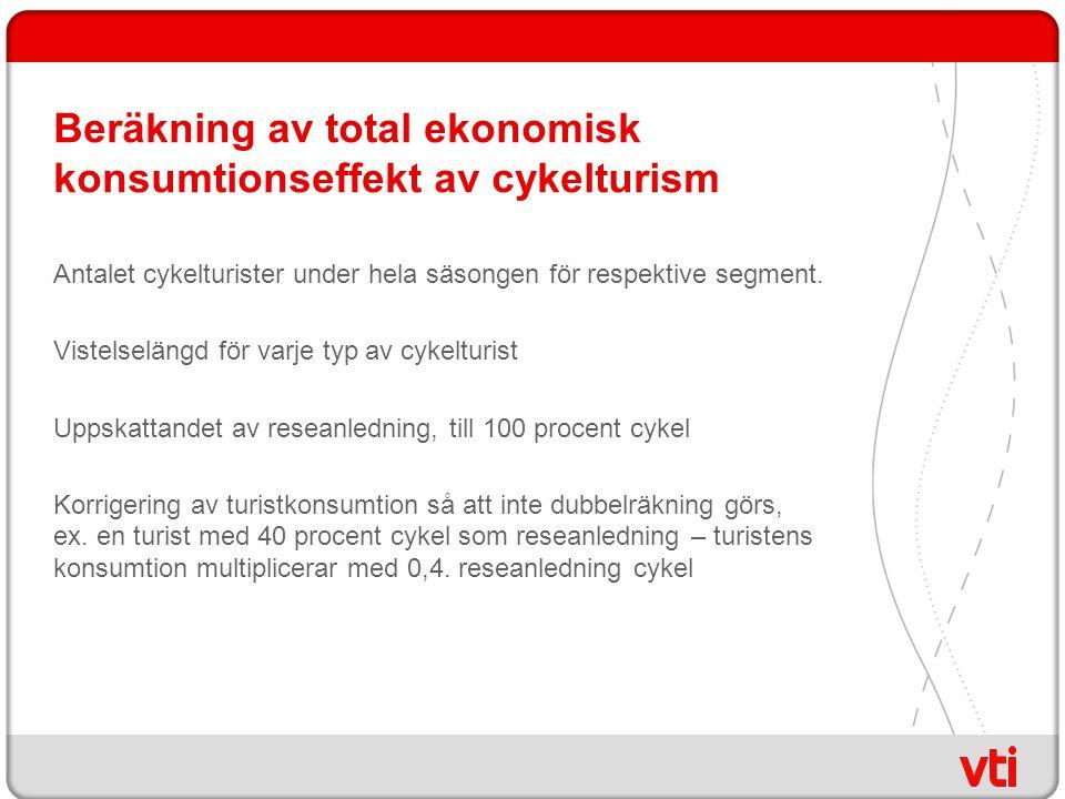 Beräkning av total ekonomisk konsumtionseffekt av cykelturism Antalet cykelturister under hela säsongen för respektive segment.