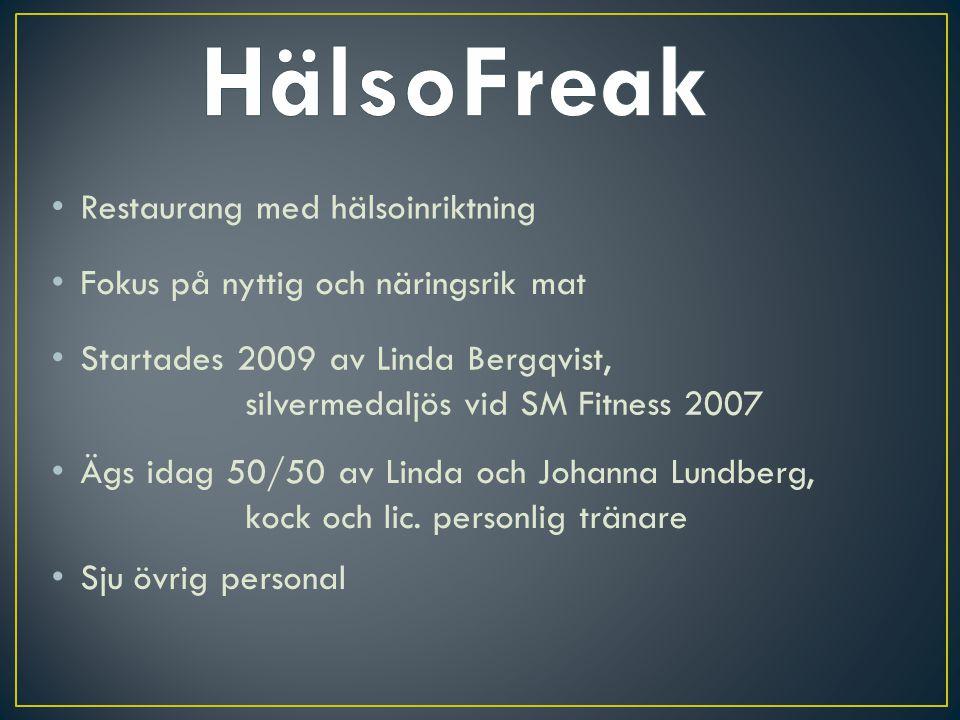Restaurang med hälsoinriktning Fokus på nyttig och näringsrik mat Startades 2009 av Linda Bergqvist, silvermedaljös vid SM Fitness 2007 Ägs idag 50/50