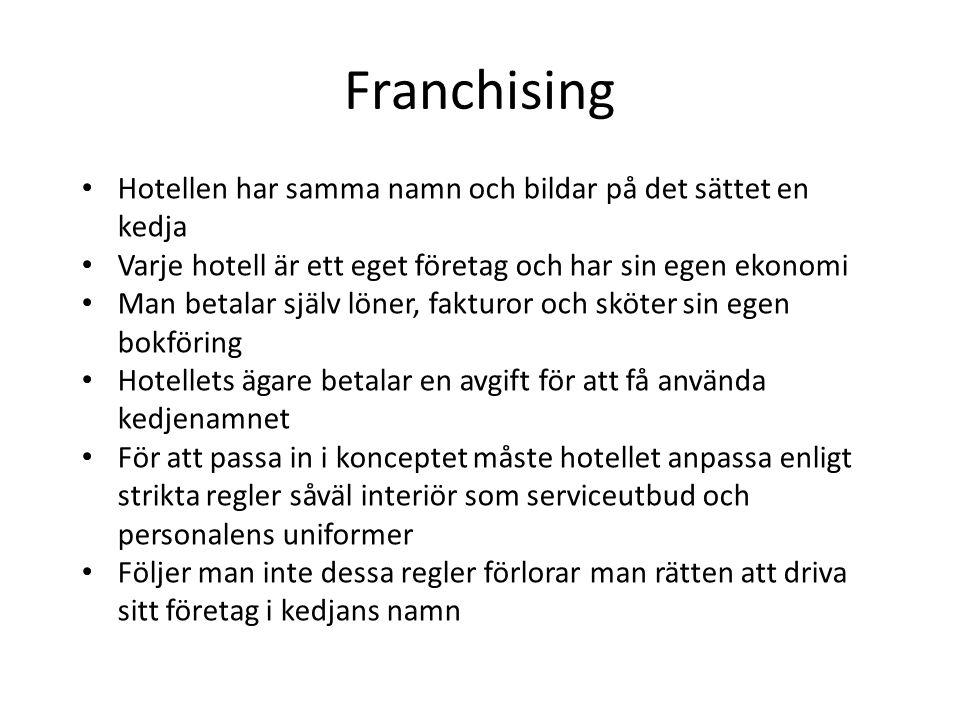 Franchising Hotellen har samma namn och bildar på det sättet en kedja Varje hotell är ett eget företag och har sin egen ekonomi Man betalar själv löne