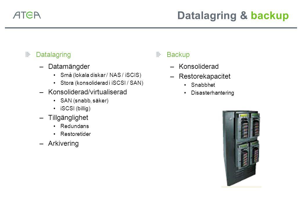 Datalagring & backup Datalagring –Datamängder Små (lokala diskar / NAS / iSCIS) Stora (konsoliderad i iSCSI / SAN) –Konsoliderad/virtualiserad SAN (sn