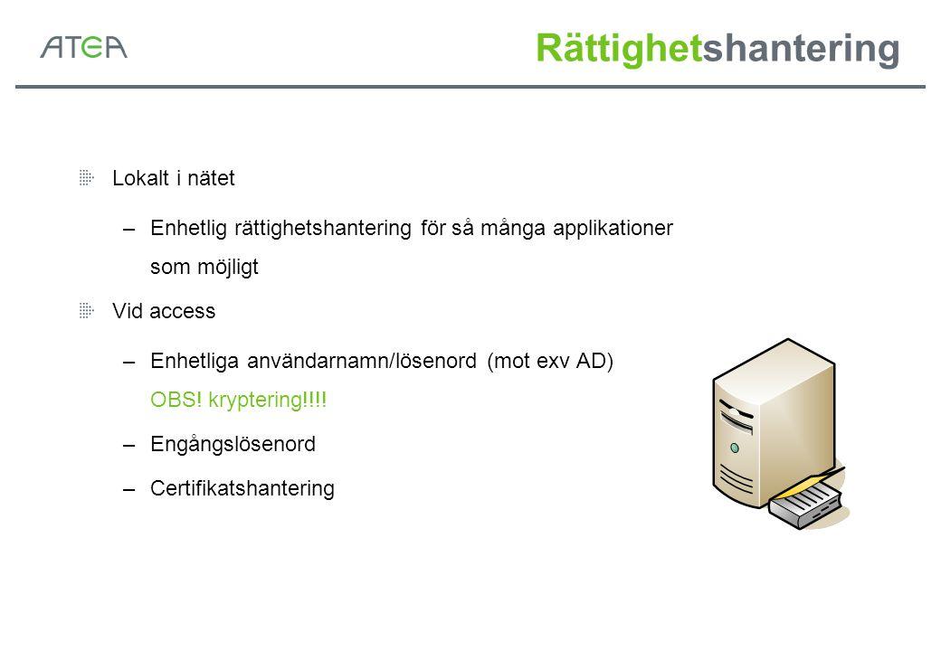 Rättighetshantering Lokalt i nätet –Enhetlig rättighetshantering för så många applikationer som möjligt Vid access –Enhetliga användarnamn/lösenord (m