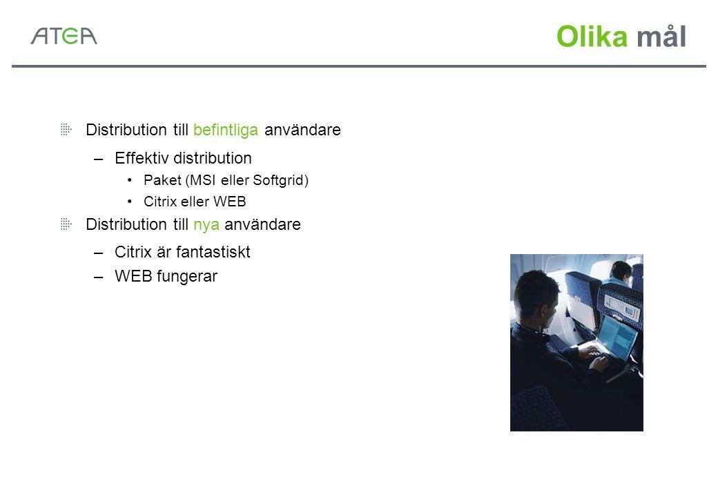 Olika mål Distribution till befintliga användare –Effektiv distribution Paket (MSI eller Softgrid) Citrix eller WEB Distribution till nya användare –C