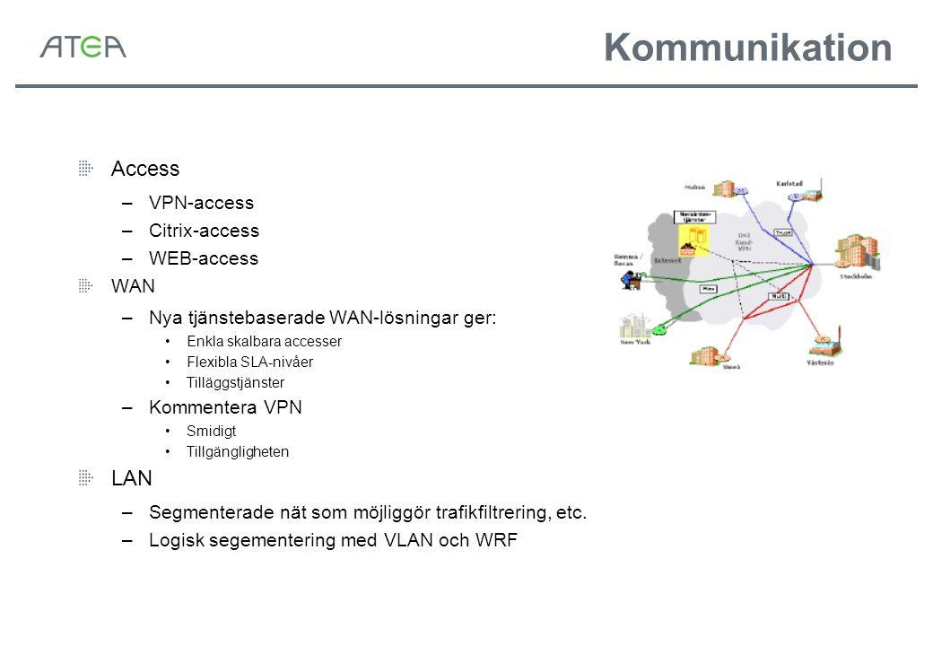 Kommunikation Access –VPN-access –Citrix-access –WEB-access WAN –Nya tjänstebaserade WAN-lösningar ger: Enkla skalbara accesser Flexibla SLA-nivåer Ti