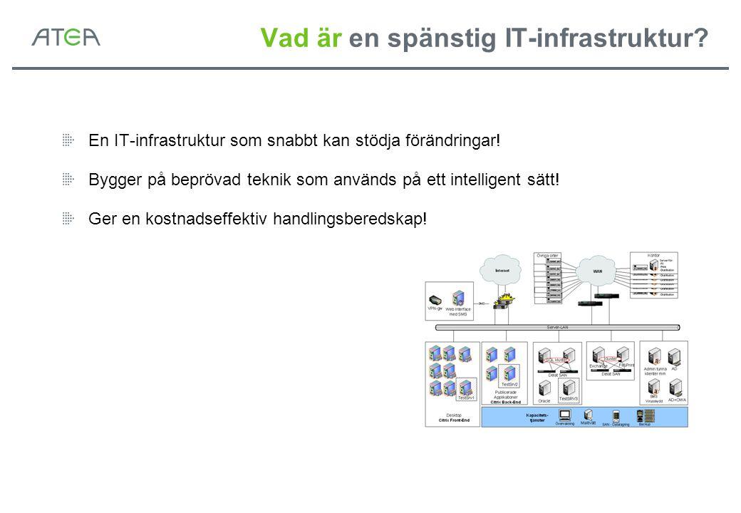 Vad är en spänstig IT-infrastruktur? En IT-infrastruktur som snabbt kan stödja förändringar! Bygger på beprövad teknik som används på ett intelligent