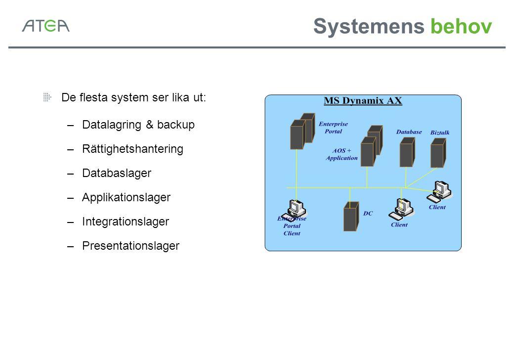 Systemens behov De flesta system ser lika ut: –Datalagring & backup –Rättighetshantering –Databaslager –Applikationslager –Integrationslager –Presenta