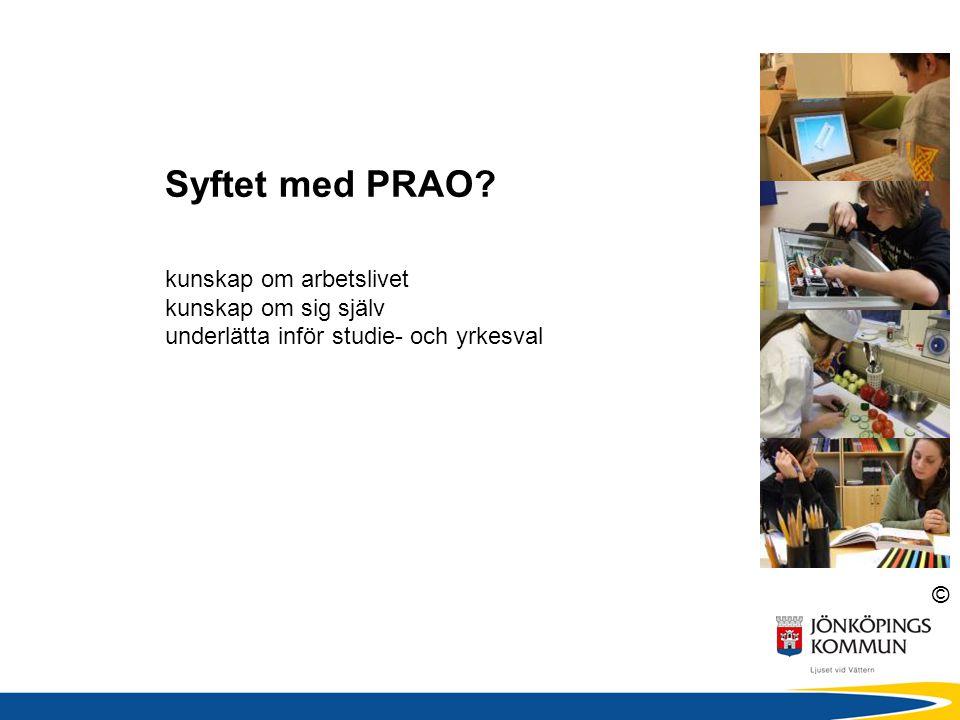 © Syftet med PRAO? kunskap om arbetslivet kunskap om sig själv underlätta inför studie- och yrkesval