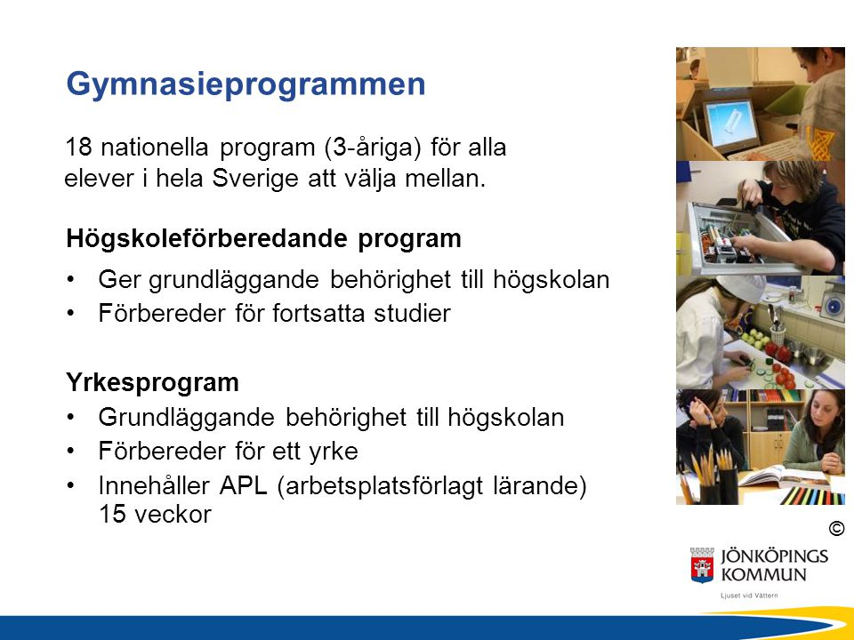 © Högskoleförberedande program Ger grundläggande behörighet till högskolan Förbereder för fortsatta studier Yrkesprogram Grundläggande behörighet till