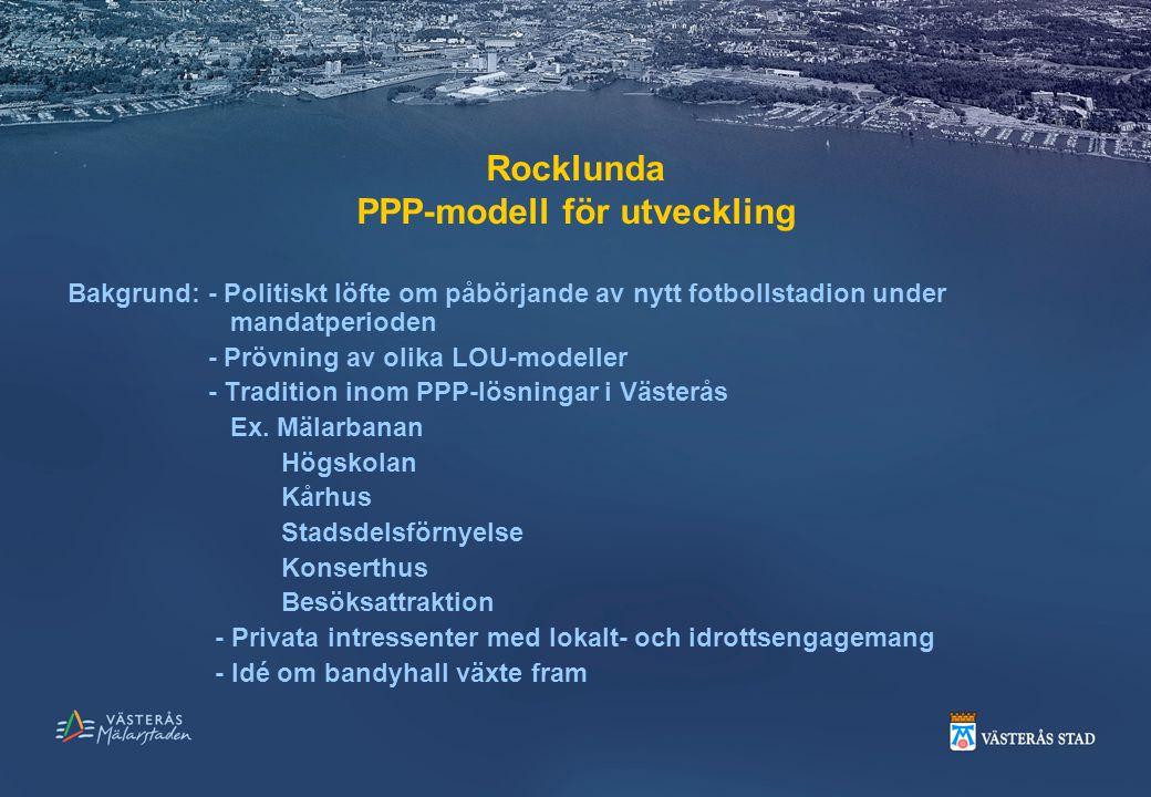 Rocklunda PPP-modell för utveckling Bakgrund: - Politiskt löfte om påbörjande av nytt fotbollstadion under mandatperioden - Prövning av olika LOU-mode
