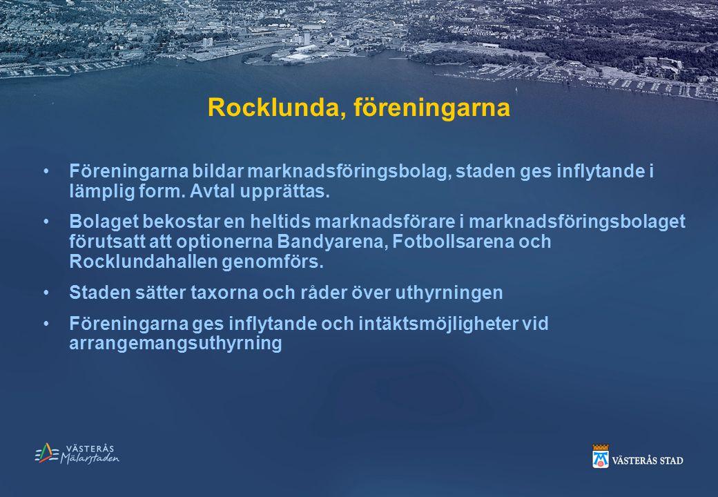 Rocklunda, föreningarna Föreningarna bildar marknadsföringsbolag, staden ges inflytande i lämplig form. Avtal upprättas. Bolaget bekostar en heltids m